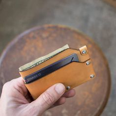 Slim Riveted Italian Vegetable Tanned Leather Wallet