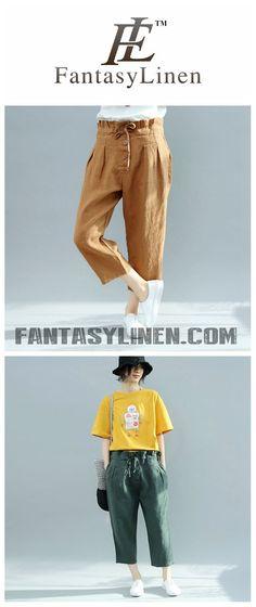 Fabric: Fabric has no stretchSeason: SummerType: PantsColor: Yellow,GreenPants Length: Ankle LengthStyle: CasualMaterial: LinenSilhouette: Pants Waist Type: Women Trousers, Summer Shorts, Paris Fashion, Cotton Linen, Parachute Pants, High Waist, Harem Pants, Sweatpants, Plus Size