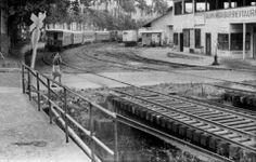 Parte del patio del ferrocarril en Turrialba, década 1950-1960.