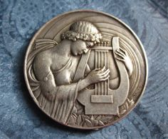 Antique Art Medal King David with Lyre Signed Galtie SS-279