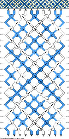 friendship bracelet patterns - 10 strings 20 rows 2 colors