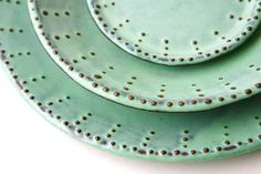 Dinnerware Set for 4 - 16 Peices - Aqua Mist - Dinner Salad Dessert Bread Plate and Bowl - French Country. $378.00, via Etsy.