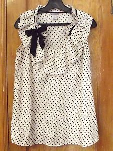 Maternity Shirt Size s Motherhood Cream Black  Smudged  Polka Dot Bow EUC | eBay