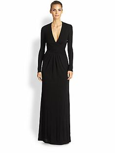 ISSA Deep V-Neck Jersey Gown 950.00...Gently-gathered details combine with a deep V-neck, lending this floor-length silhouette a sophisticated, modern allure.