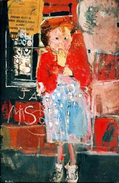 Little Girl with a Squint by Joan Kathleen Harding Eardley Oil collage on canvas, x cm Collection: Dumfries and Galloway Council (Gracefield) Aberdeen Art Gallery, Art Brut, Your Paintings, Artwork Paintings, Abstract Paintings, Abstract Art, Art Plastique, Figure Painting, Contemporary Paintings