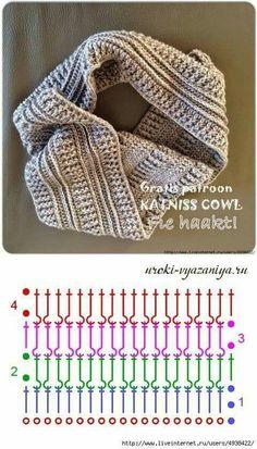 Crochet Cowl Free Pattern, Crochet Diagram, Crochet Stitches Patterns, Crochet Chart, Crochet Motif, Knit Crochet, Snood Pattern, Crochet Mens Scarf, Crochet Scarves