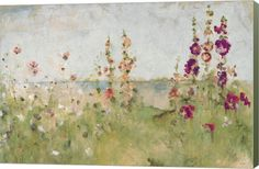Amazon.com: Hollyhocks by the Sea by Cheri Blum Canvas Art Wall Picture, Museum Wrapped with Sage Green Sides, 24 x 16 inches: Posters & Prints
