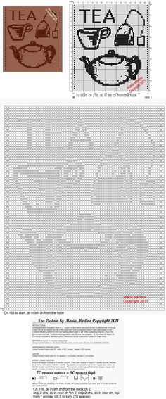 Filet Crochet: Filet Crochet a Tea Pot Curtain Free Pattern