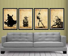 Ok I kind of love these. Star Wars Posters Set. $50.00, via Etsy.