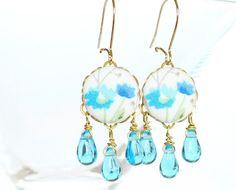 Flower Dangle Earrings  Turquoise Flowers  by PatchworkMillJewelry