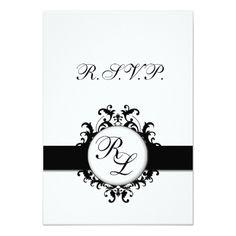 Damask RSVP Wedding Invitations Chic Damask Monogram RSVP Card Wedding