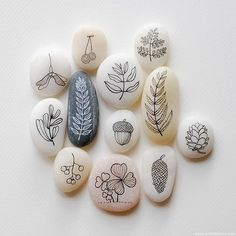 Pebble Illustrations of Foliage