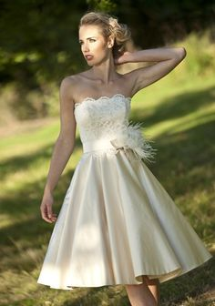 Knee-length strapless princess lace and satin wedding dress light champagne color. $165.00, via Etsy.