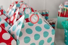 Red Aqua Gender Neutral Polka Dot Party Planning Ideas Decorations