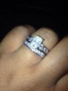 Lovely custom radiant diamond engagement ring and wedding band Wedding Sets, Wedding Bands, Diamond Engagement Rings, Wedding Stuff, Jewerly, Crystals, Beauty, Jewlery, Schmuck