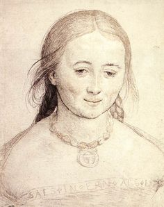 """""""Portrait of a Young Woman"""", Hans Holbein, silver-point, reworked with pen and black ink, heightened with red chalk and white, on paper. Study for the Virgin in the """"Madonna of Soleure, painted in 1522.  Louvre"""