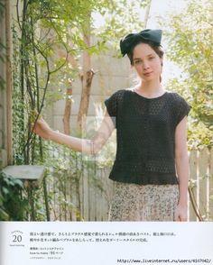 "Photo from album ""Кnitting Еurope spring summer"" on Yandex. Crochet Shirt, Knit Crochet, Crochet Hats, Europe Spring, Japanese Books, Japanese Patterns, Pull, Handicraft, Knitting Patterns"