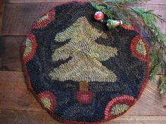 primitive hand hooked Christmas mat, early & old look