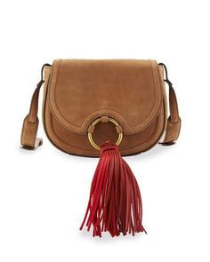 ff025981a3 Tory Burch Tassel Mini Leather Saddle Bag, River Rock Hiver, Sacs À Main En