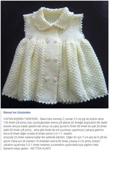 This Pin Was Discovered By Susan Matthew - Diy Crafts - Marecipe Girls Knitted Dress, Crochet Summer Dresses, Knit Baby Dress, Knitted Baby Cardigan, Knitted Baby Clothes, Crochet Girls, Crochet Baby, Crochet For Kids, Knitting For Kids