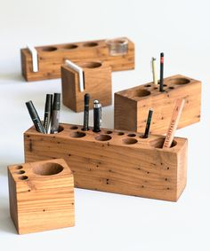 This deluxe style finely crafted desk caddy will make the perfect addition to your study or work area. Made by Hambone Philadelphia out of reclaimed chestnut barn beam, each piece possesses its own unique one-of-a-kind features. The deluxe desk tray