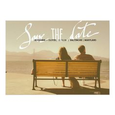 Modern Wedding Save The Date Script Photo 5x7 Paper Invitation Card