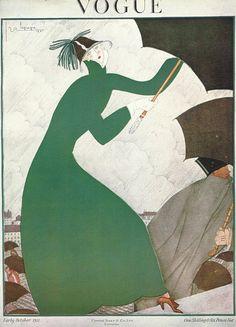 Vogue magazine cover 1921 Lepape Umbrella by OLDBOOKSMAPSPRINTS