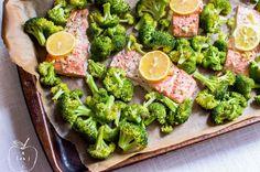 One-Sheet Roasted Garlic Salmon & Broccoli