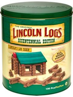 "Why settle for the ""plasticfied"" watered-down version sold in department stores when you can treat your children to the original wooden Lincoln Logs you played with growing up? Made completely of wood, this bicentennial edition rekindles the simple, timeless pleasure of building toy structures with real logs. <3 this site it has lots of things that I remember"