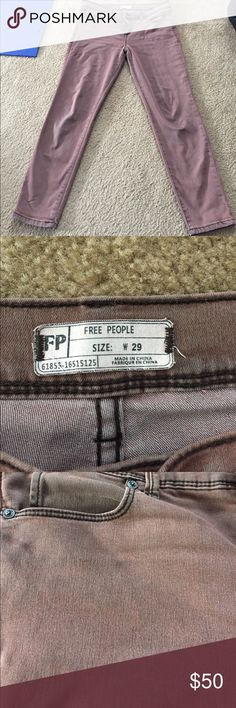 Jeans Free people cropped, colored jeans! Super cute! Worn 2 times and only once out of my house! Super comfy, they just don't fit me! The color is a little hard to describe. They are a faded Marsala with a black undertone and black stitching. Free People Pants Ankle & Cropped