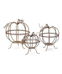 Love this Three-Piece Wire Pumpkin Set on #zulily! #zulilyfinds