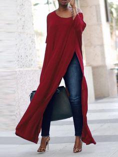 Mein Still Casual Women Side Split Long Maxi Shirts. Brief,Casual, Half Sleeve, O-Neck. Mode Outfits, Fall Outfits, Fashion Outfits, Womens Fashion, Fashion Trends, Fashion Blouses, Long Shirt Outfits, Fashion Ideas, Ladies Fashion