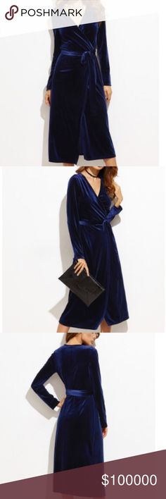 Navy Velvet Wrap Dress D E S C R I P T I O N                                    Navy Surplice Belted Velvet Dress. Be on trend with this beautiful little number that is both flattering and luxurious  C O N T E N T 95% Polyester 5% Spandex  A T T R I B U T E S  Deep V Neck A Line Price will be approx $70         F I N I S H  T H E  L O O K  W/ your favorite choker and caged heels  💕 Let me know if you'd like to be tagged upon arrival 💕 Dresses Midi