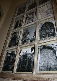 Old Window Art - black & white architectural photos in a repurposed window frame Old Window Art, Old Window Panes, Window Frames, Window Ideas, Vintage Windows, Old Windows, Windows And Doors, Old Doors, Diy Furniture