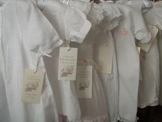 Baby clothes are like little handmade bouquets. Intricate and soft with delicate folds like petals. Junk Chic Cottage, Cottage Signs, White Cottage, Rose Cottage, Cottage Front Porches, White Coverlet, Pink Home Decor, Home Comforts, Pin Tucks