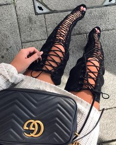 "➿ ODK boots - RUBY FAIRS (@ruby190) on Instagram: ""Lace ups ✌@lolashoetique #details #laceupboots #guccibag #kneehighboots #lolashoetique"""