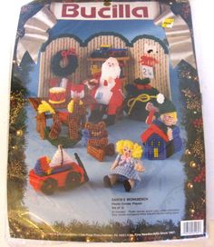BUCILLA vtg Xmas SANTA'S WORKBENCH Plastic Canvas Playset KIT #61161 New in pkg #Bucilla