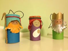 Explore and Express: Christmas Art: Toilet Paper Roll Nativity Figures Wise Poulsen lets make these with the kids! Toilet Roll Craft, Toilet Paper Roll Crafts, Paper Crafts, Nativity Crafts, Christmas Nativity, Christmas Art, Christmas Activities, Christmas Crafts For Kids, Holiday Crafts