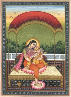 Baby Ganesha in the Lap of Mother Parvati, Hindu Watercolor on PaperArtist Shri Kailash Raj Rajasthani Painting, Rajasthani Art, Pichwai Paintings, Indian Art Paintings, Ganesh Images, Lord Krishna Images, Baby Ganesha, Lord Ganesha, Ganesha Painting