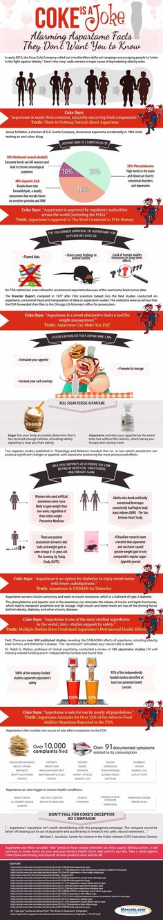 """The """"Coke Is a Joke"""" infographic exposes the false weight loss and wellness claims of Coke in its diet soda line, which uses aspartame and other artificial sweeteners. Please share this info. Health And Beauty, Health And Wellness, Health Tips, Health Fitness, Health Recipes, Lose Weight, Weight Loss, Nutrition, Utila"""