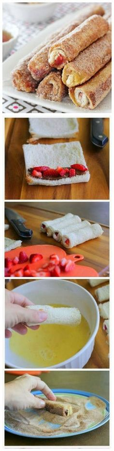 French Toast Roll-Ups   I tried this and it works beautifully and the kids Loved them! I used a cinnamon filling rolled in a swirl bread base and they were perfect!