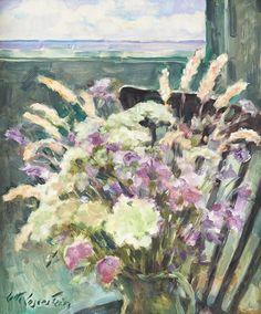 "thunderstruck9: ""Lotte Laserstein (German/Swedish, 1898‑1993), Still life with flowers. Oil on panel, 55 x 46 cm. """