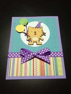 Birthday card. Cat from Cricut Create a Critter cartridge