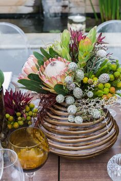 Traditional South African fynbos with protea flower as a floral centre piece arr Floral Centerpieces, Wedding Centerpieces, Floral Arrangements, Table Arrangements, Wedding Decor, Table Flowers, Cut Flowers, South African Flowers, Floral Wedding