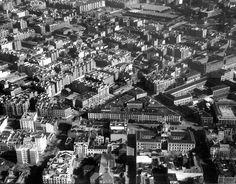 Vista aérea del barrio de Argüelles, década de 1940