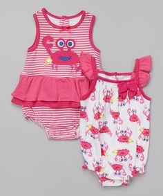 Love this Pink Crab Romper Set - Infant on #zulily! #zulilyfinds