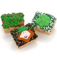 St. Patrick's Day Chocolate Dipped Mini Crispy Rice Bars- Dozen    Price:  US$39.99    These delicious Crispy Rice Bites are hand dipped in your choice of decadently delicious fine Belgian Chocolates--Dark, Milk or White--and decorated with adorable hand crafted Royal Icing Decorations for St. Patrick's Day