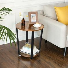 Union Rustic Cool Nature Wood Coaster Set with Holder | Wayfair Sofa Table With Storage, Sofa Side Table, Side Tables, Console Table, Round Metal Side Table, Wooden Side Table, Rustic Accent Table, Rustic Table, Accent Tables