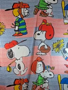 Peanuts-Gang-Twin-Flat-Sheet-Sports-Vintage-Charlie-Brown-Lucy-Snoopy-Linus