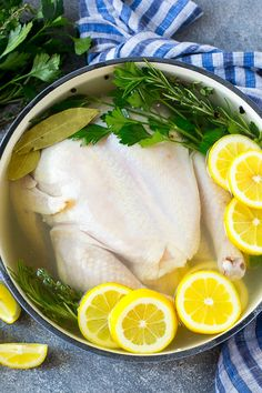 Chicken brine in a pot with a whole chicken, lemons, herbs and spices. Herb Chicken Recipes, Diabetic Chicken Recipes, Shredded Chicken Recipes, Chicken Brine, Roasted Chicken, Cooking Recipes, Healthy Recipes, Recipe Chicken, Smoker Recipes